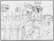 Drawing of Sasanian rock relief: Shapur I (r. A.D. 241-272) and members of his court at Naqsh-i Radjab, southern Iran
