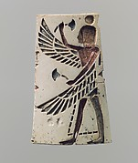 Winged youth on a plaque originally inlaid with colored glass