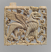 Openwork plaque with ram-headed sphinx