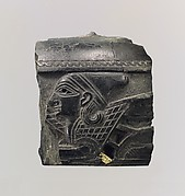 Cosmetic box fragment with the head of a sphinx