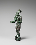 Striding figure with ibex horns, a raptor skin draped around the shoulders, and upturned boots