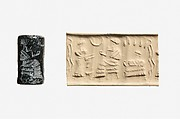Cylinder seal and modern impression: worshiper before a seated ruler or deity; seated female under a grape arbor