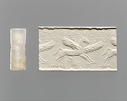 Cylinder seal: winged horse with claws and horns