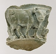 Fragment of a bowl with a frieze of bulls in relief