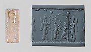 Cylinder seal: Ishtar image and a worshiper below a canopy flanked by winged genies