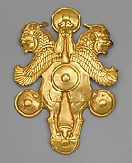Plaque with horned lion-griffins