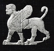 Plaque with a striding sphinx