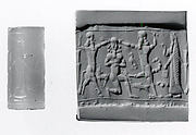 Cylinder seal: scorpion-man and bull-man attacking kneeling nude male