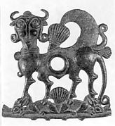 Horse bit cheekpiece in form of a winged, human-headed quadruped