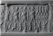Cylinder seal and modern impression: above, royal figures approaching a suppliant goddess; below, a banquet scene