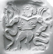 Double-sided stamp seal: nude winged hero dominating snakes; winged dragon