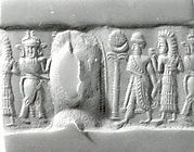 Cylinder seal and modern impression: partially nude and robed goddesses raising ankh symbols over a king; weather god