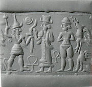 Cylinder seal: smiting weather god before a Syrian goddess, nude goddess; ankh symbols