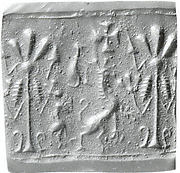 Cylinder seal: animal flanking a sacred tree