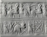 Cylinder seal: banquet scene with seated figures drinking a liquid through straws