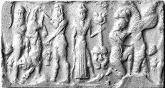Cylinder seal: heroes and animals in combat, head of the monster Humbaba