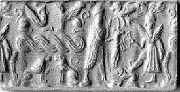 Cylinder seal and modern impression: offering bearer before winged deity; terminal: sphinxes, guilloche, lions