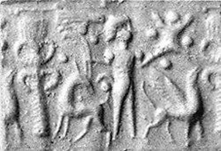 Cylinder seal: palmette tree flanked by winged griffin and caprid; figure between them with raised hands; ingot