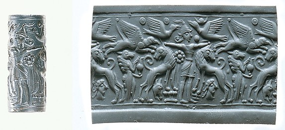 Cylinder seal: Master of Animals between lions, griffins, Minoan genius
