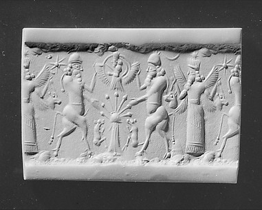 Cylinder seal and modern impression: bull-men flanking deity above sacred tree; winged deity holding horned animal heads