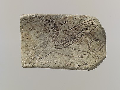 Furniture plaque: incised griffin