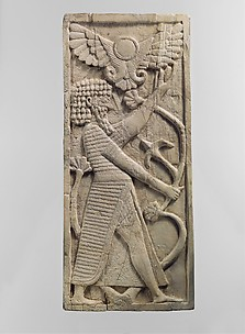 Panel with a male figure grasping a tree; winged sun disc above
