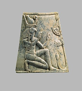 Plaque with falcon-headed Re wearing crown of Upper and Lower Egypt