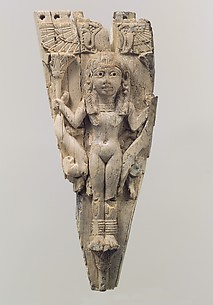 Horse frontlet with a nude goddess holding lotus flowers and lions
