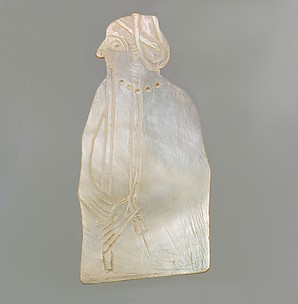 Inlay: woman wearing a cylinder seal, playing a flute