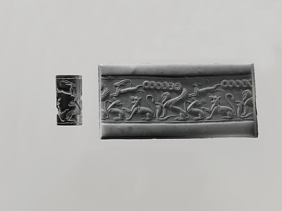 Cylinder seal: animal combat with a lion and goats; sphinx on a snake