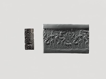 Cylinder seal: hunter holding a lion; griffin attacking a stag; Master of Animals; double-headed eagle