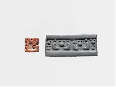 Cylinder seal: seated pigtailed figures and pots