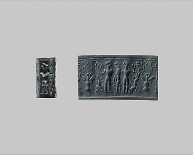 Cylinder seal: Master of Animals with lions and antelope