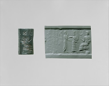 Cylinder seal: seated figure approached by a goddess leading a worshiper