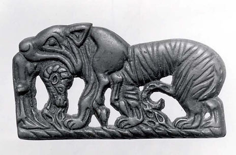 Plaque with tiger devouring ram