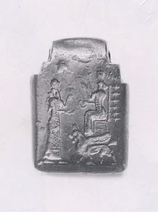 Amulet with fighting demons; on reverse: Ishtar enthroned and worshiper