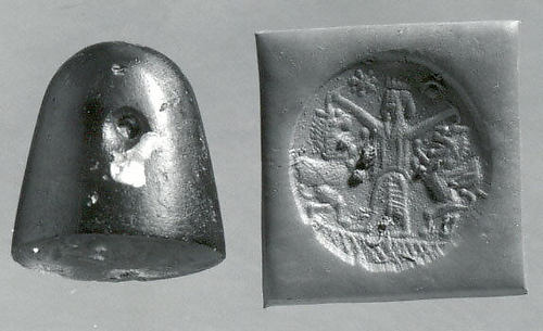 Conoid stamp seal: king mastering two rearing lion-griffins, star and reversed crescent with sun-disc