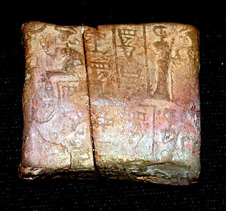 Cuneiform tablet case impressed with cylinder seal, for cuneiform tablet 86.11.249a: receipt of a kid
