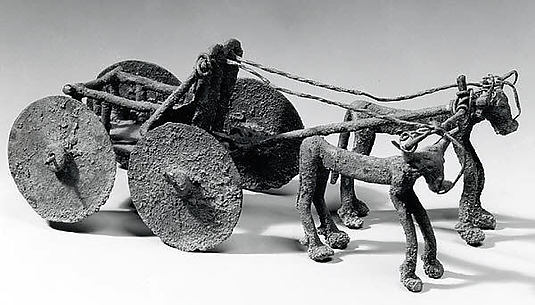 Wagon drawn by bulls