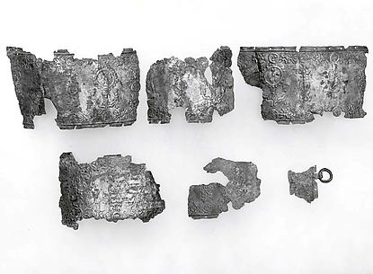 Belt fragments with deities on bulls and lions