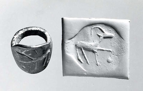 Seal ring and modern impression: horned animal