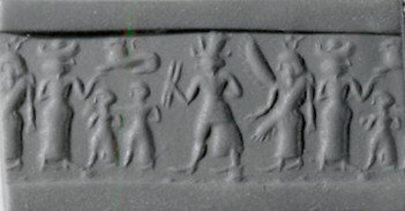 Cylinder seal and modern impression: war goddess flanked by goddesses with Egyptian-style sun-disk headdress and vertical wings