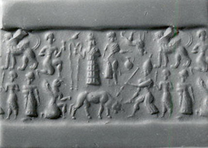 Cylinder seal and modern impression: man spearing bull; griffin demon; deities above