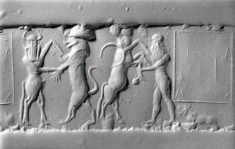 Cylinder seal and modern impression: heroes wrestling rampant animals