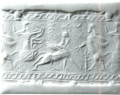 Cylinder seal: archer in a sphinx-drawn chariot attacking a rampant sphinx