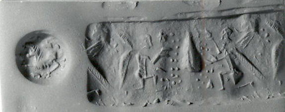 Stamp cylinder seal and modern impression: winged divinities with date spathes flanking a tree