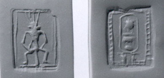 Stamp seal: Bes; cartouche of Men-kheper-re (Thutmose III)