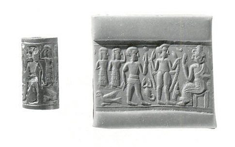 Cylinder seal and modern impression: nude goddess before seated deity