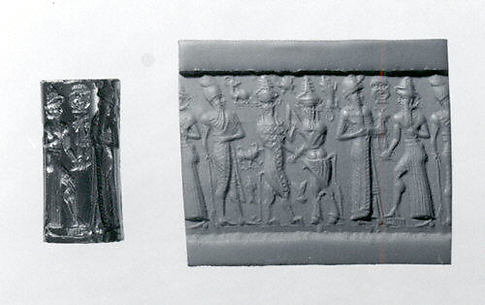 Cylinder seal: worshiper and the sun god; king; bull-man and a lion-man