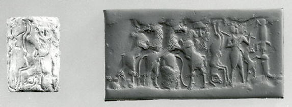 Cylinder seal: bull-man, bearded hero, and lion contest frieze